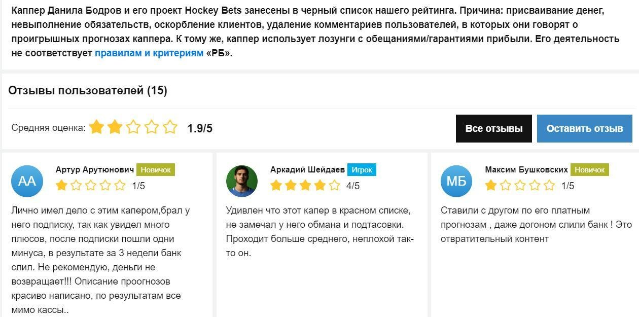 Hockey Bets отзывы
